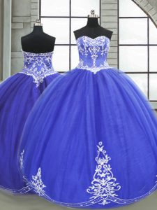 Blue Ball Gowns Sweetheart Sleeveless Tulle Floor Length Lace Up Appliques Sweet 16 Dresses
