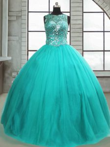 Custom Designed Turquoise Ball Gowns Tulle Scoop Sleeveless Beading Floor Length Lace Up Sweet 16 Dress