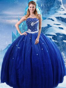 Luxury Royal Blue Sleeveless Beading Floor Length Quinceanera Gown