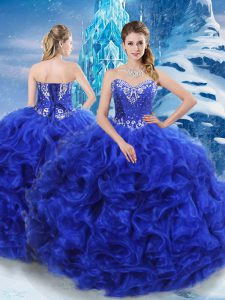 Traditional Royal Blue Lace Up Sweet 16 Dresses Beading Sleeveless Floor Length