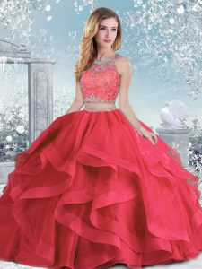 Coral Red Ball Gowns Beading and Ruffles Sweet 16 Dresses Clasp Handle Organza Sleeveless Floor Length