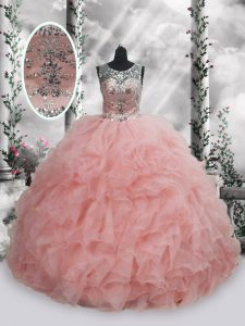 Baby Pink Sleeveless Organza Lace Up Sweet 16 Quinceanera Dress for Military Ball and Sweet 16 and Quinceanera