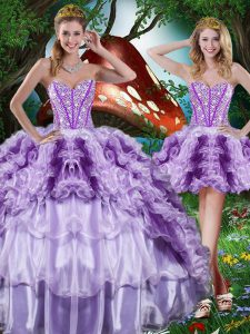 Glorious Beading and Ruffles and Ruffled Layers 15th Birthday Dress Multi-color Lace Up Sleeveless Floor Length