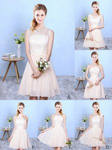 Pretty Champagne Lace Up One Shoulder Lace Dama Dress Chiffon Sleeveless