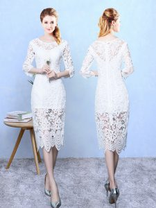 Lace Scoop 3 4 Length Sleeve Zipper Lace Bridesmaid Dress in White