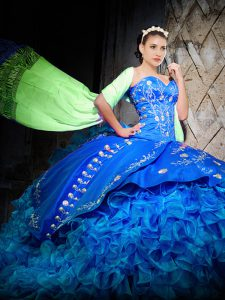Royal Blue Off The Shoulder Neckline Embroidery and Ruffles Quince Ball Gowns Sleeveless Lace Up