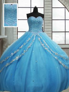 Ball Gowns 15 Quinceanera Dress Baby Blue Sweetheart Tulle Sleeveless Floor Length Lace Up