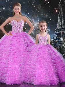 Popular Fuchsia Tulle Lace Up Sweetheart Sleeveless Floor Length Sweet 16 Quinceanera Dress Beading and Ruffles