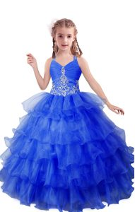 Inexpensive Blue Zipper V-neck Beading and Ruffled Layers Little Girls Pageant Dress Organza Sleeveless