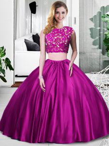 Fuchsia Zipper Quinceanera Dress Lace and Ruching Sleeveless Floor Length