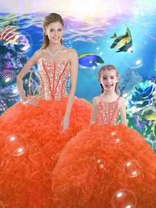 Orange Red Sweetheart Neckline Beading and Ruffles Quinceanera Gown Sleeveless Lace Up