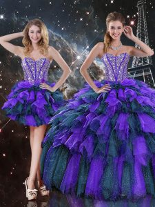 High End Multi-color Sweetheart Lace Up Beading and Ruffles and Ruffled Layers Sweet 16 Quinceanera Dress Sleeveless