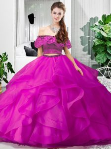 Sleeveless Lace Up Floor Length Lace and Ruffles Sweet 16 Dresses