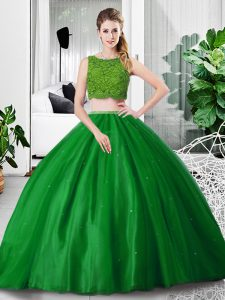 Artistic Floor Length Green Ball Gown Prom Dress Tulle Sleeveless Lace and Ruching