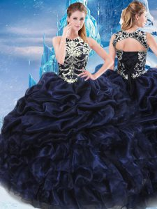 Adorable Navy Blue Ball Gowns Taffeta High-neck Sleeveless Appliques and Ruffles and Pick Ups Floor Length Lace Up 15 Quinceanera Dress