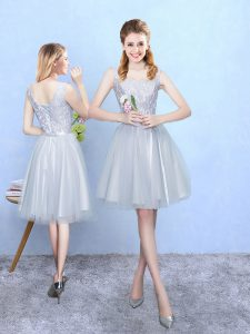 Fashionable Silver Sleeveless Tulle Lace Up Bridesmaid Gown for Wedding Party