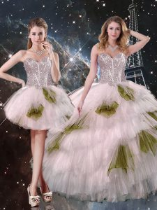 Tulle Sweetheart Sleeveless Lace Up Beading and Ruffled Layers and Sequins 15 Quinceanera Dress in Champagne