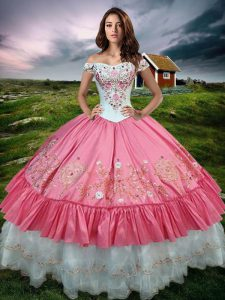 Fashionable Floor Length Lace Up Sweet 16 Dress Hot Pink for Military Ball and Sweet 16 and Quinceanera with Beading and Embroidery and Ruffled Layers