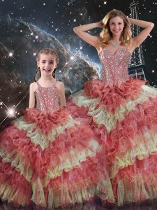 Multi-color Lace Up Quinceanera Gowns Beading and Ruffled Layers and Sequins Sleeveless Floor Length