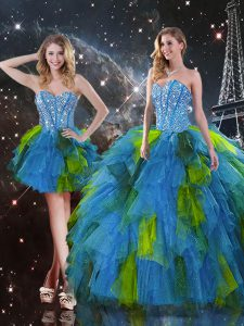 Ideal Sweetheart Sleeveless Lace Up Sweet 16 Dresses Multi-color Tulle