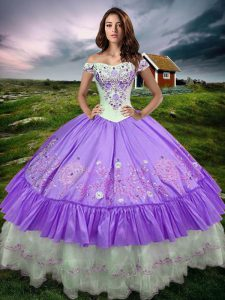 Great Floor Length Lavender Sweet 16 Quinceanera Dress Off The Shoulder Sleeveless Lace Up