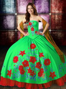 Cute Ball Gowns Sweet 16 Dresses Multi-color Strapless Satin Sleeveless Floor Length Lace Up