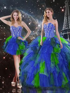Cute Sweetheart Sleeveless Lace Up 15 Quinceanera Dress Multi-color Tulle