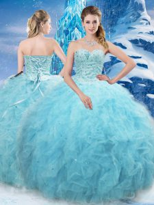 Sweetheart Sleeveless Quinceanera Dresses Floor Length Beading and Pick Ups Aqua Blue Tulle