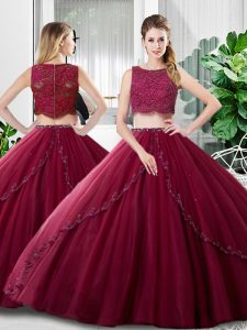 Enchanting Burgundy Sleeveless Floor Length Lace and Ruching Zipper Vestidos de Quinceanera