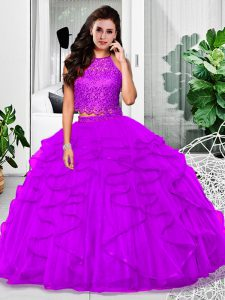 Custom Design Lace and Ruffles 15th Birthday Dress Eggplant Purple Zipper Sleeveless Floor Length