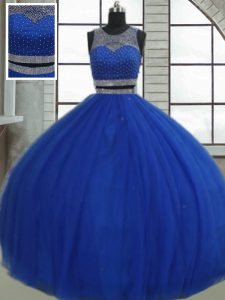 Beading and Sequins Quinceanera Dress Royal Blue Clasp Handle Sleeveless Floor Length