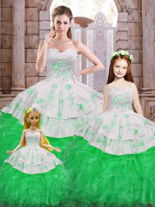 Sweetheart Sleeveless Lace Up Vestidos de Quinceanera Green Organza