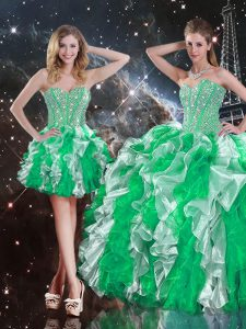 Enchanting Multi-color Organza Lace Up Sweet 16 Quinceanera Dress Sleeveless Floor Length Ruffles