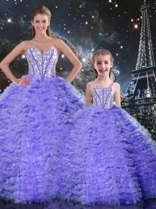 Comfortable Lavender Tulle Lace Up Quinceanera Dresses Sleeveless Floor Length Beading and Ruffles