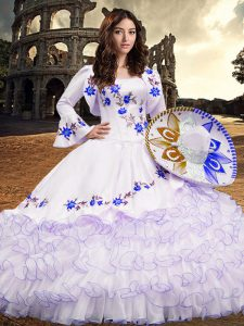 New Arrival Royal Blue 15th Birthday Dress Military Ball and Sweet 16 and Quinceanera with Embroidery and Ruffled Layers Square Long Sleeves Lace Up