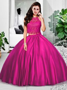 Beautiful Floor Length Two Pieces Sleeveless Fuchsia Quince Ball Gowns Zipper