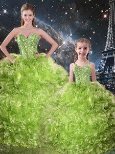 Olive Green Sleeveless Beading and Ruffles Floor Length Sweet 16 Dresses