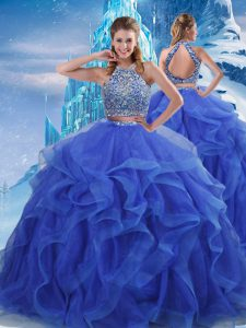 Floor Length Zipper Quinceanera Dresses Royal Blue for Military Ball and Sweet 16 and Quinceanera with Beading and Ruffles