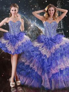 Deluxe Sleeveless Beading and Ruffled Layers Lace Up Quinceanera Gown