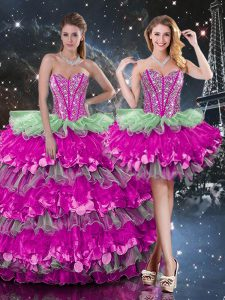 Inexpensive Sweetheart Sleeveless Vestidos de Quinceanera Floor Length Beading and Ruffles and Ruffled Layers Multi-color Organza