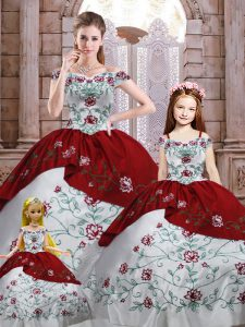 Free and Easy White And Red Lace Up Off The Shoulder Embroidery Quince Ball Gowns Taffeta Sleeveless