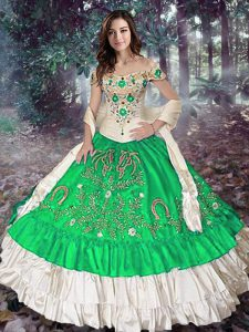 Fine Sleeveless Taffeta Floor Length Lace Up Quinceanera Dresses in Green with Embroidery and Ruffled Layers