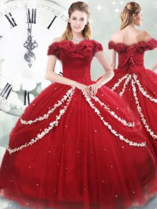 Lace Up Sweet 16 Dress Wine Red for Military Ball and Sweet 16 and Quinceanera with Appliques and Pick Ups Brush Train