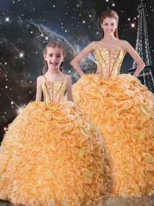 Pretty Orange Organza Lace Up Sweetheart Sleeveless Floor Length Vestidos de Quinceanera Beading and Ruffles