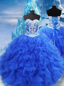 Custom Designed Blue Lace Up Quince Ball Gowns Beading and Ruffles Sleeveless Floor Length
