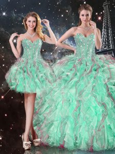 Floor Length Turquoise Quinceanera Gowns Sweetheart Sleeveless Lace Up