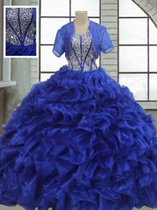 Classical Organza Short Sleeves Floor Length Sweet 16 Dress and Ruffles