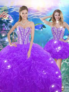 Extravagant Purple Ball Gowns Beading and Ruffles 15th Birthday Dress Lace Up Organza Sleeveless Floor Length