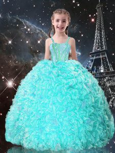 Beading and Ruffles Pageant Gowns For Girls Turquoise Lace Up Sleeveless Floor Length