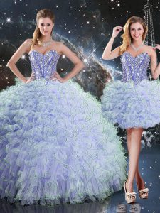 Lavender Organza Lace Up Sweet 16 Quinceanera Dress Sleeveless Floor Length Beading and Ruffles